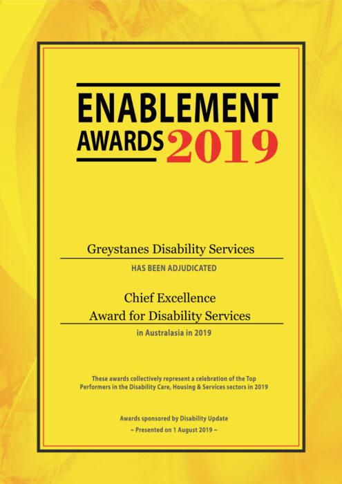 2019 enablement awards certificate greystanes